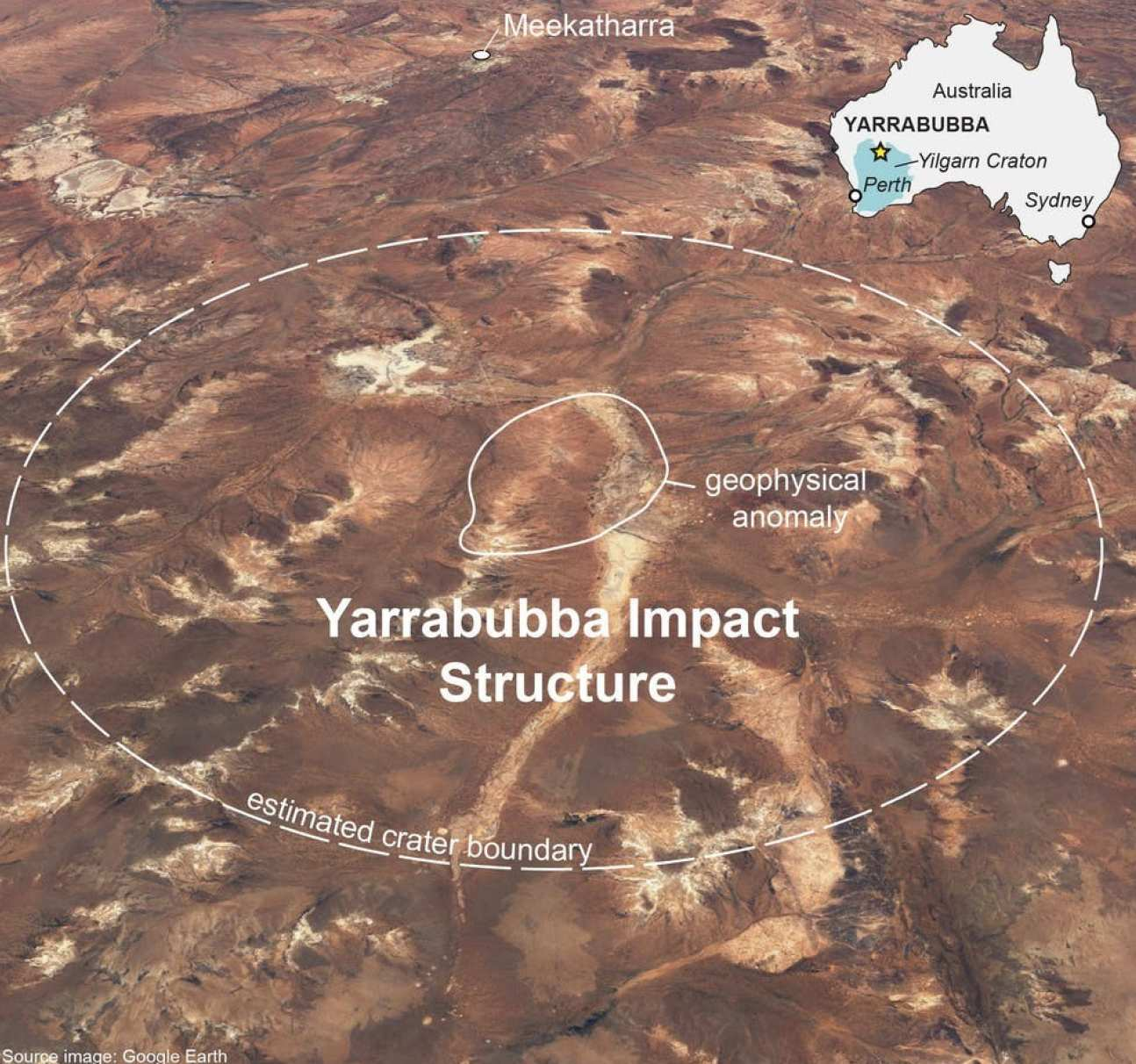 Photo of the Yarrabubba impact structure from above, and its place in Australia