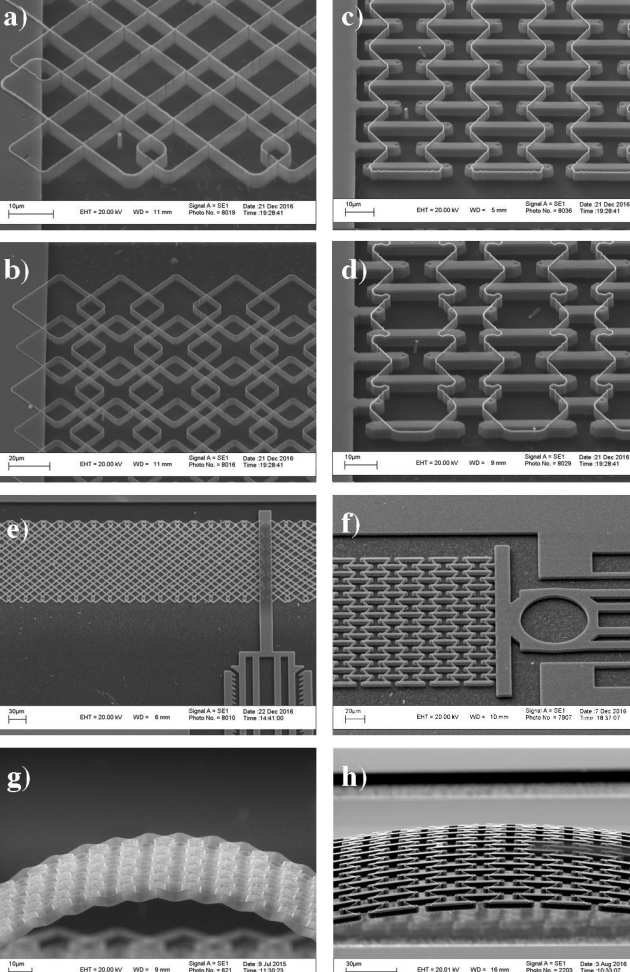 a)-d) SEM views of nanostructured cellular materials with different  lattices 7a379dede