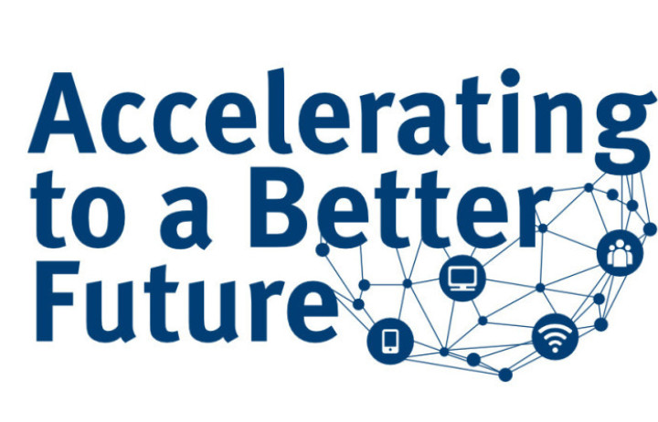 Banner reads: accelerating to a better future
