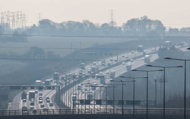 Air pollution hangs over a British motorway