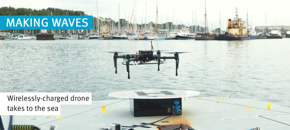 Wireless drone landing on the Halcyon