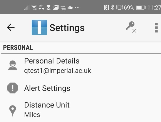 Alert settings in an Android phone