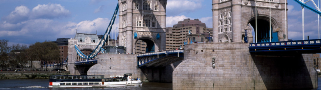 Landscape shot of Tower Bridge on a sunny day.