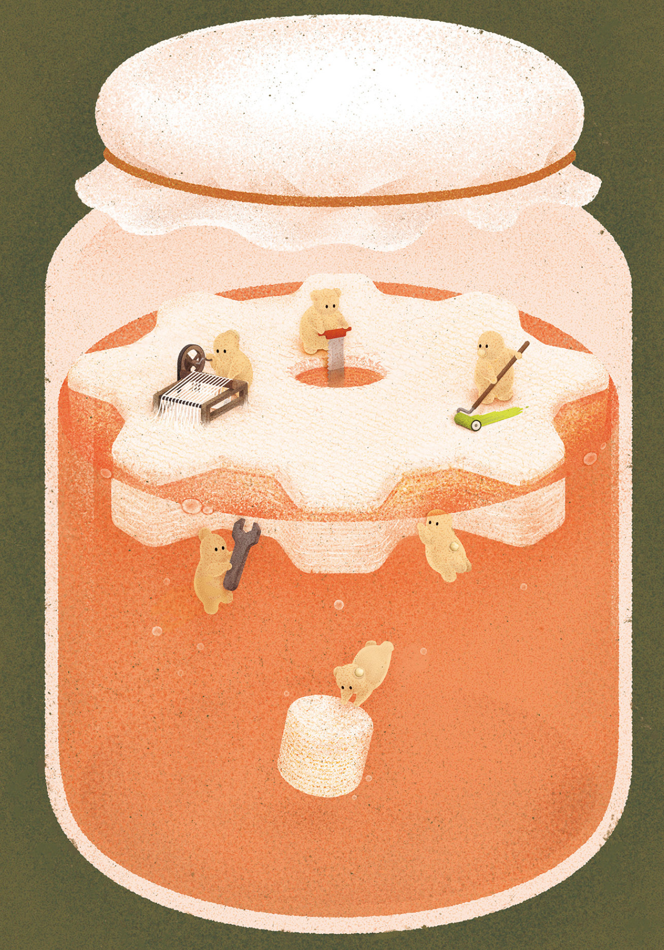 Drawing of a jar with orange liquid. The ELMs are depicted as tiny animals doing odd jobs like spinning fabric and wielding a spanner