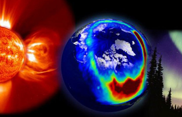 Artist impression of the Earth in between the Sun and the Aurora Borealis