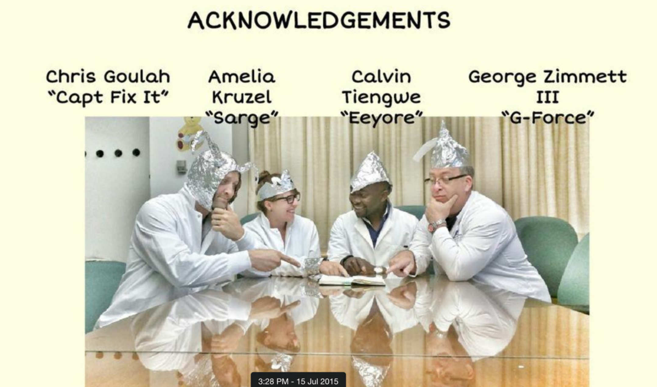 Bangs lab: Acknowledgement slide by Da Boss