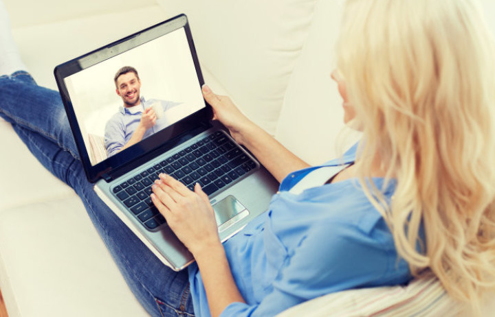Video call on laptop