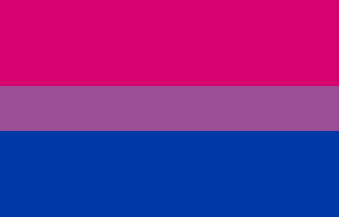 Bi pride flag with pink, purple and blue stripes