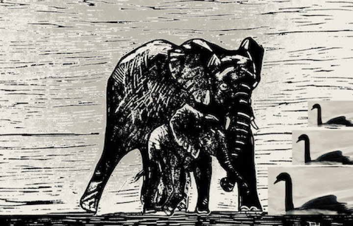 line drawing of a black elephant
