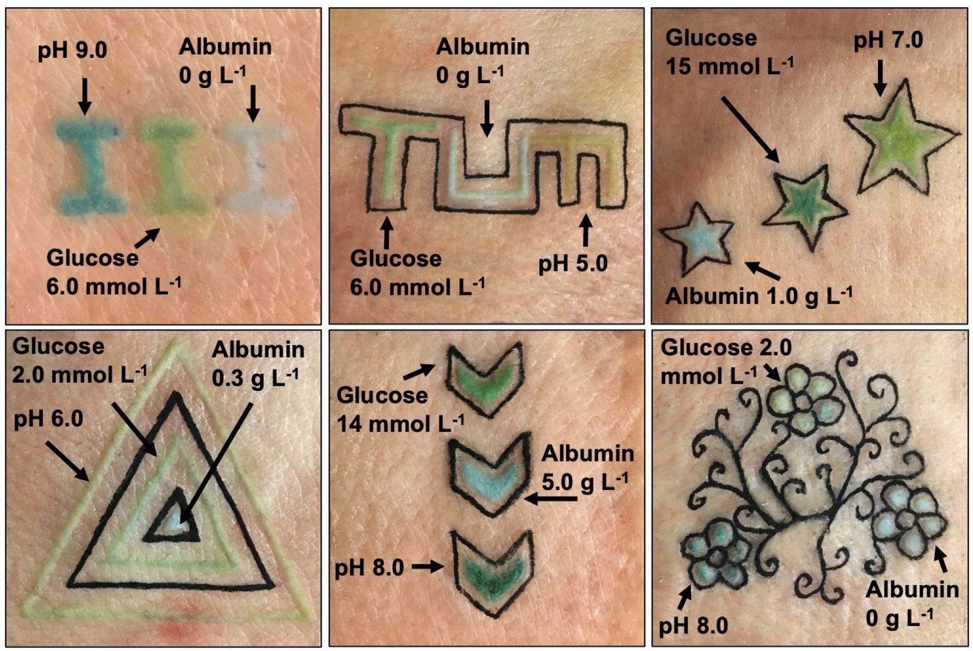 Image of colored tattoos