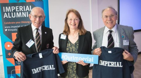 President Alice P. Gast with two male alumni at the M Shed Museum in Bristol