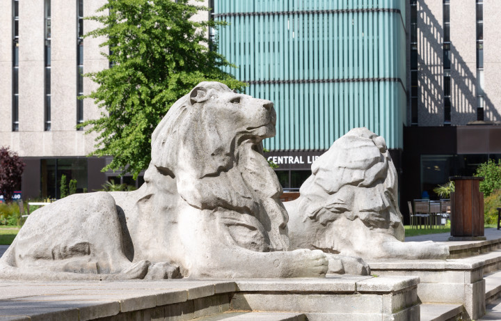 Lion statues on the Queen's Lawn