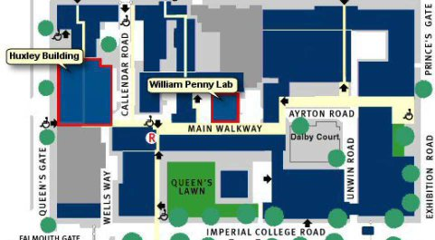 Campus Map showing the different departments at Imperial College London
