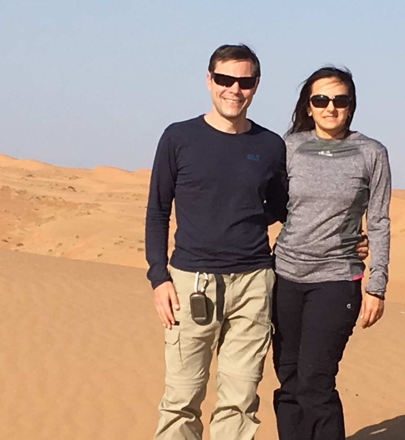 Photo of Dr John with co-author Saira Khan in the Wahiba Sands region of Oman.