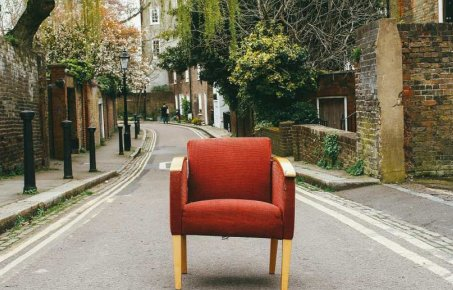 Empty chair on a road