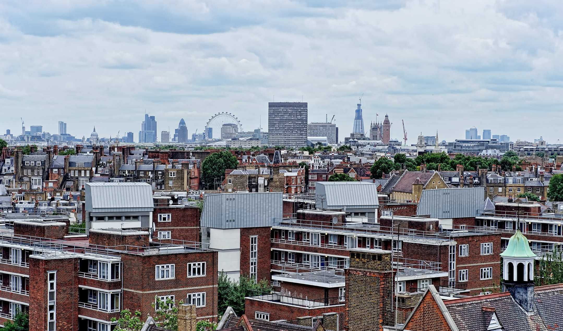 Views over London's skyline from Chelsea Cloisters