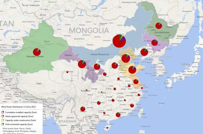 Distribution of China's wind power 2013.