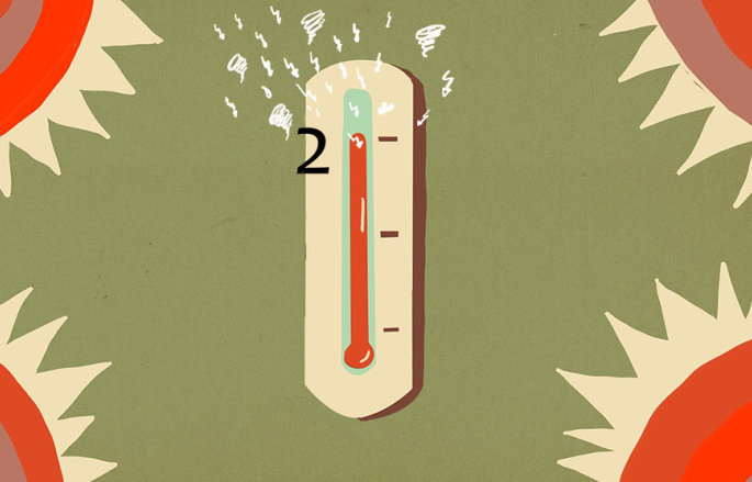 Graphic showing a thermometer reaching 2