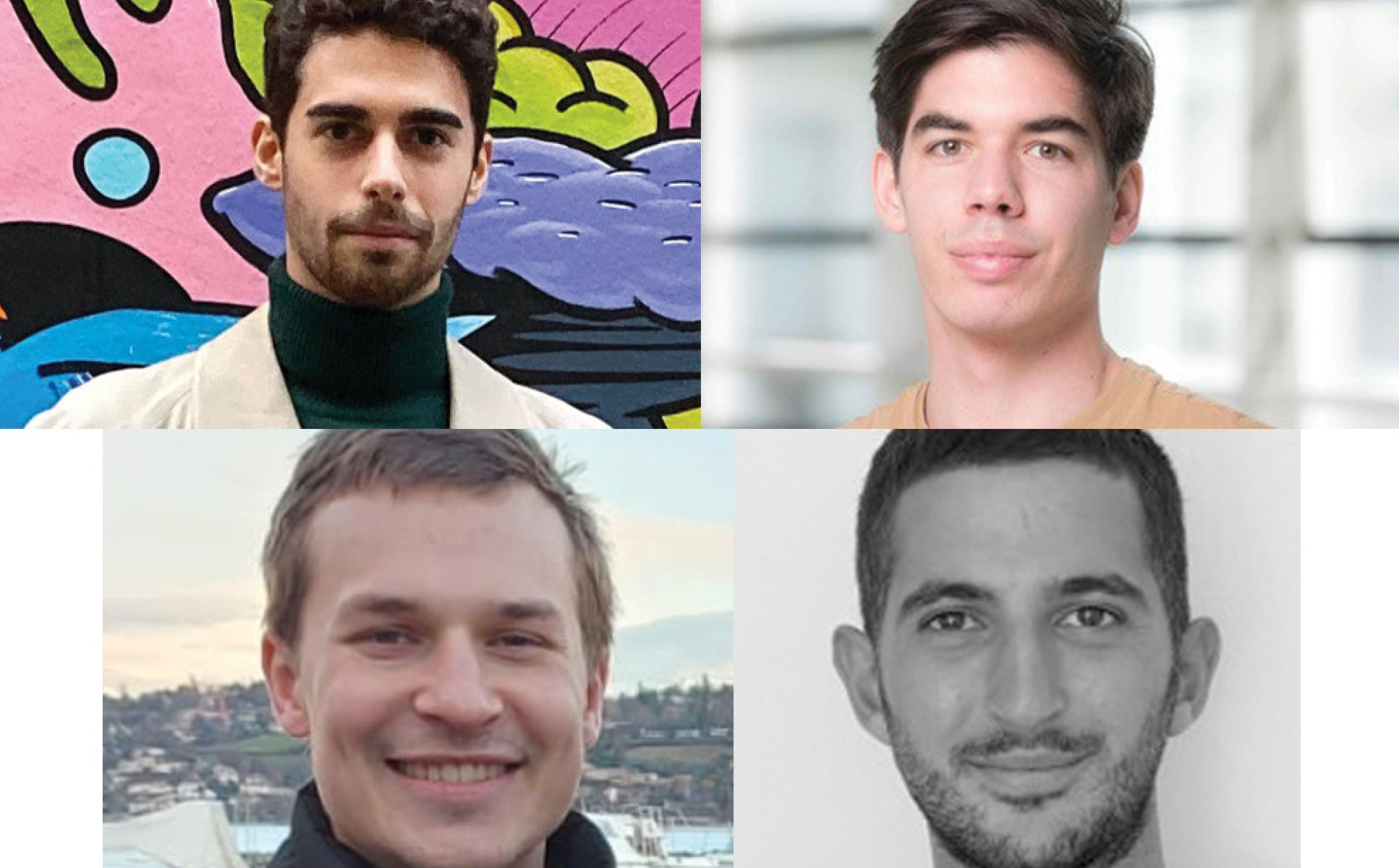 A collage of photos of the team that came in runners-up place: Enrico Crovini - PhD student, Francesco Sanna Passino - Research associate, Karl Hallgren - PhD student, Theodoulos Rodosthenous - PhD student, Yanni Papandreou - PhD student. All from the Department of Mathematics