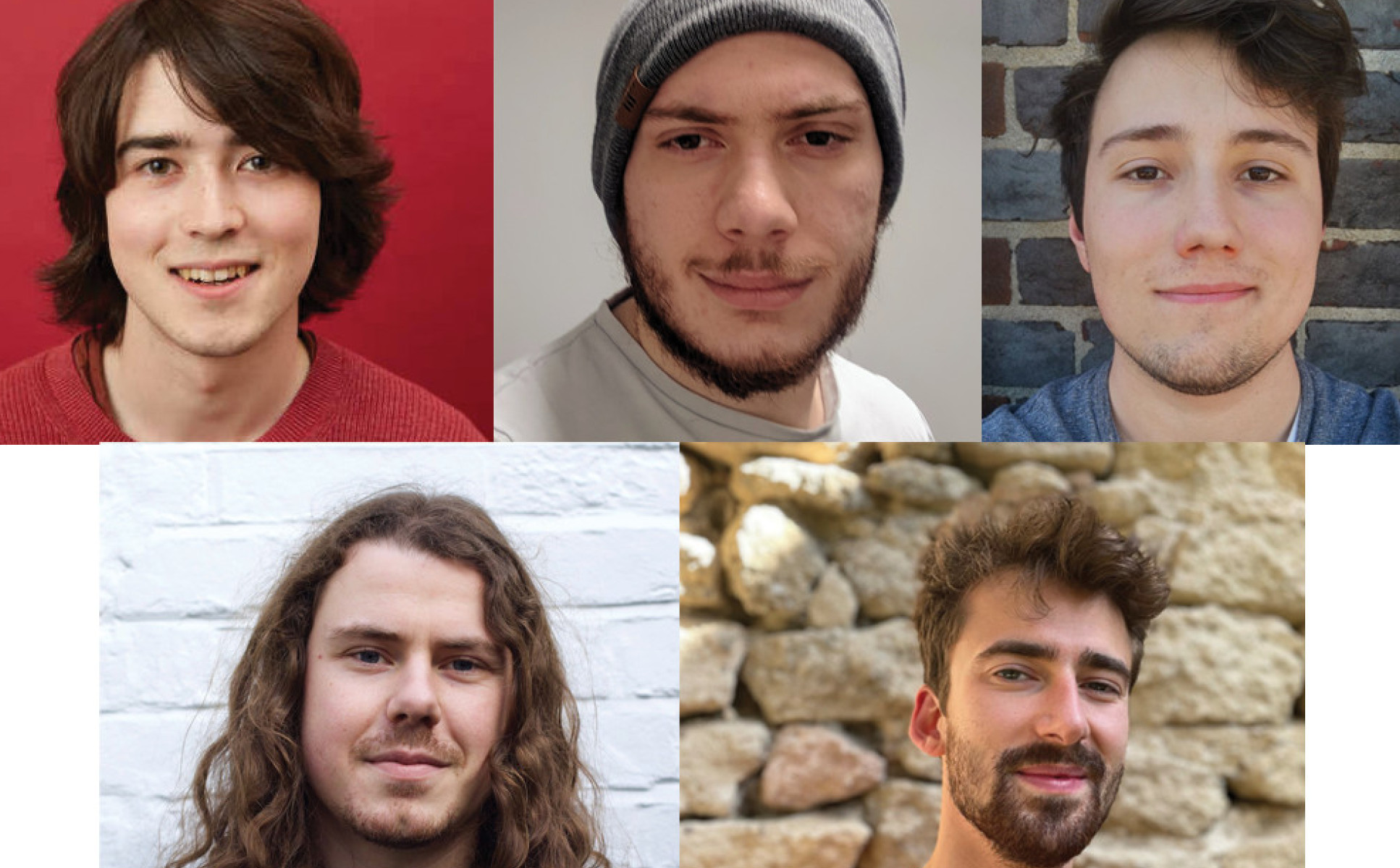 A collage of photos of the winning team Christopher Bradley, Gino Cassella, Milan Rakic, Peru d'Ornellas, Thomas Hodson. All PhD students, Department of Physics
