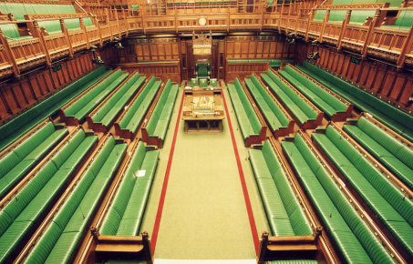 Inside the House of Commons with green benches