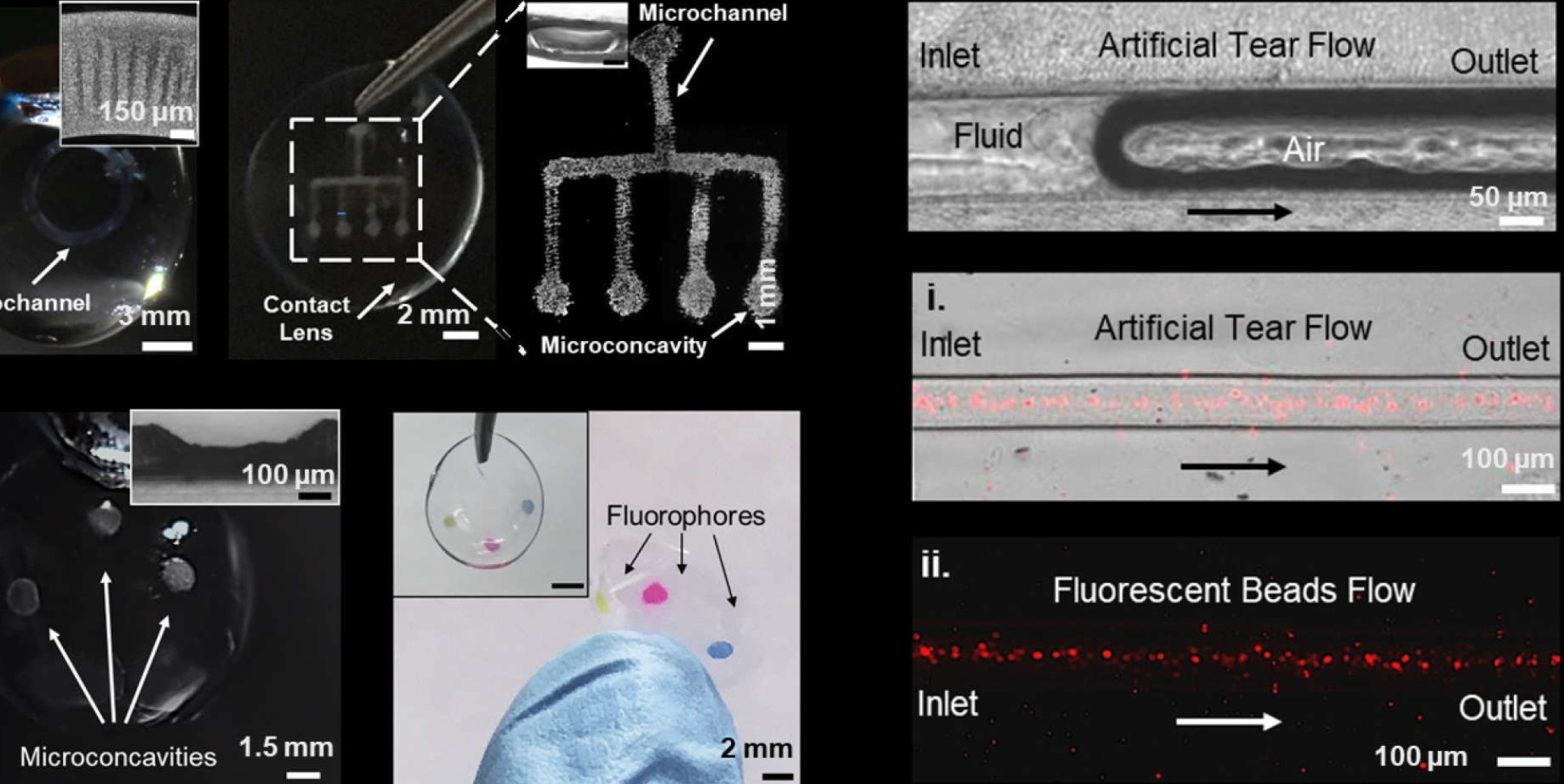 Images of microfluidic contact lenses showing microscale channels to transport fluids