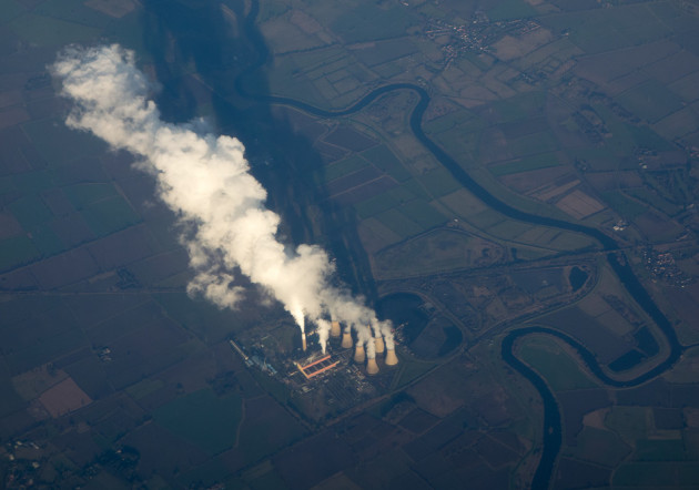 An aerial view of Cottam Power Station and the River Trent