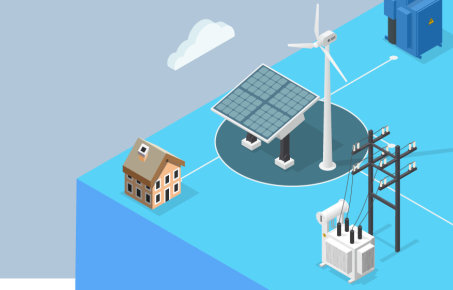 Graphic showing solar panel and wind turbine, house and power grid