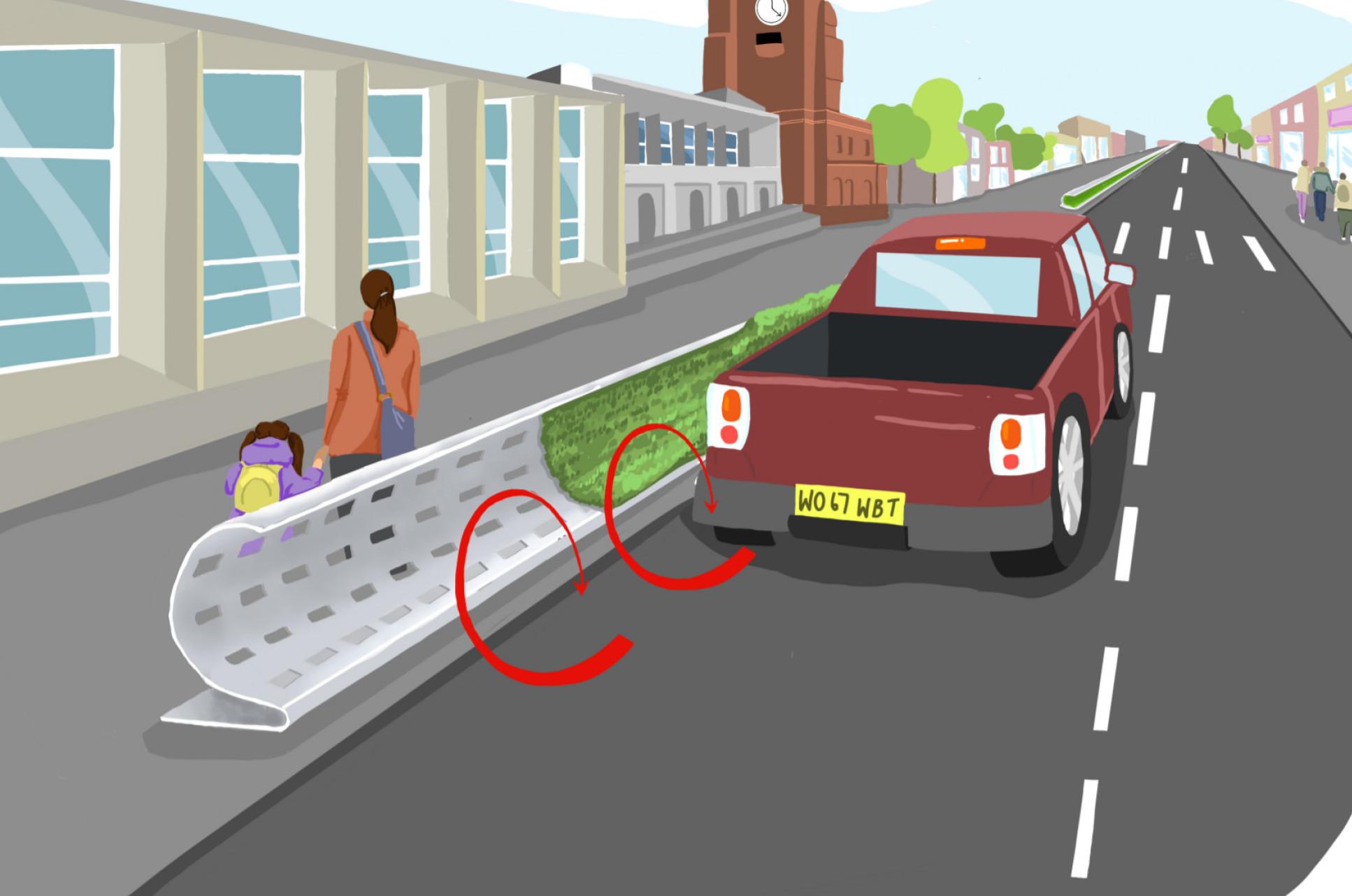 Curved roadside barrier deflecting pollution