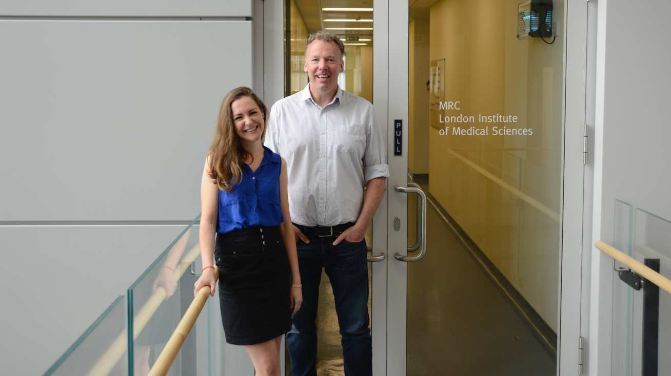 Professor David Carling, Professor of Biochemistry at the College,and Lucy Penfold, Postdoctoral Research Associate at the College