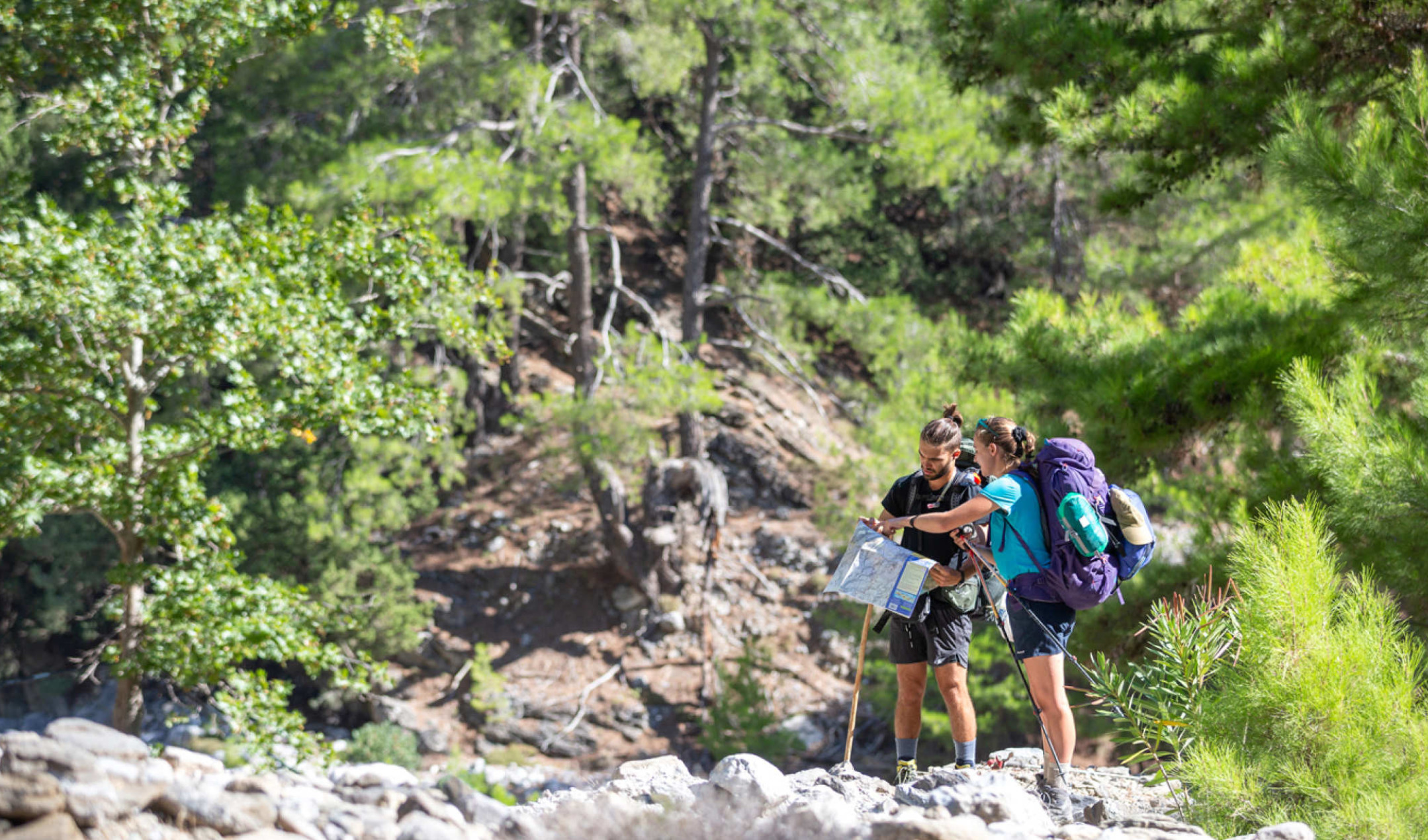 Two students navigating on expedition in Crete
