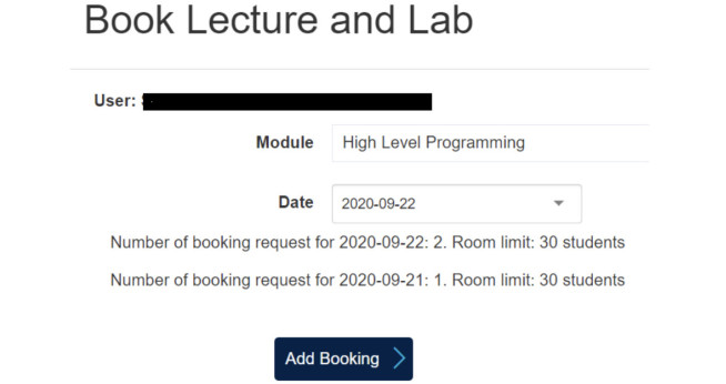 image showing lecture booking for elective modules