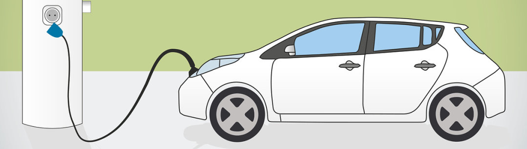 Illustration of electric car charging