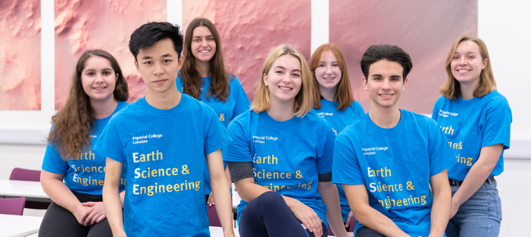 Earth Science students in matching ESE t-shirts pose for a photo