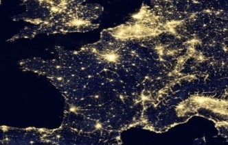 A nighttime satellite photograph of Europe from space