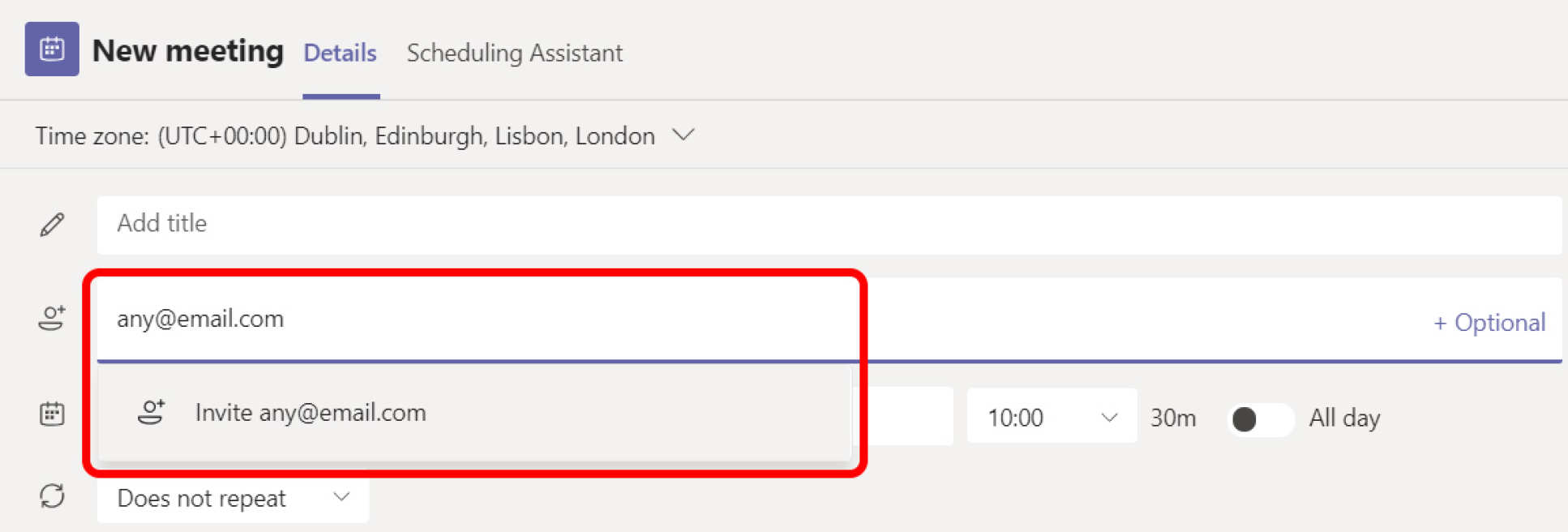 Screenshot from Teams showing where to add an external user's email address in the meeting invite