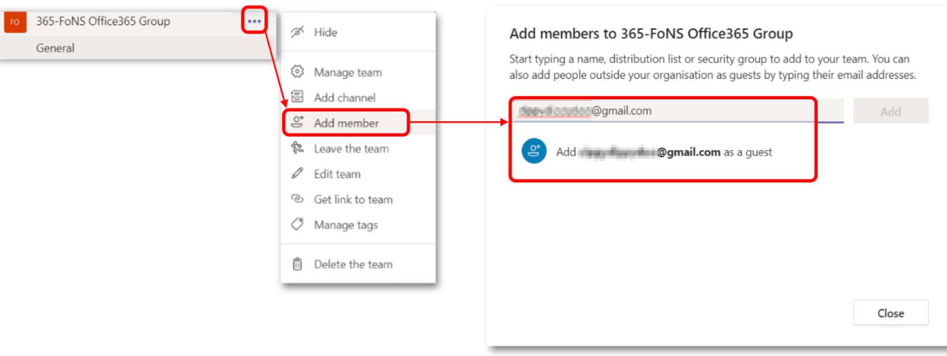 Screenshot from Teams showing how to add a member to a Team