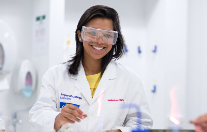 Student smiling in lab