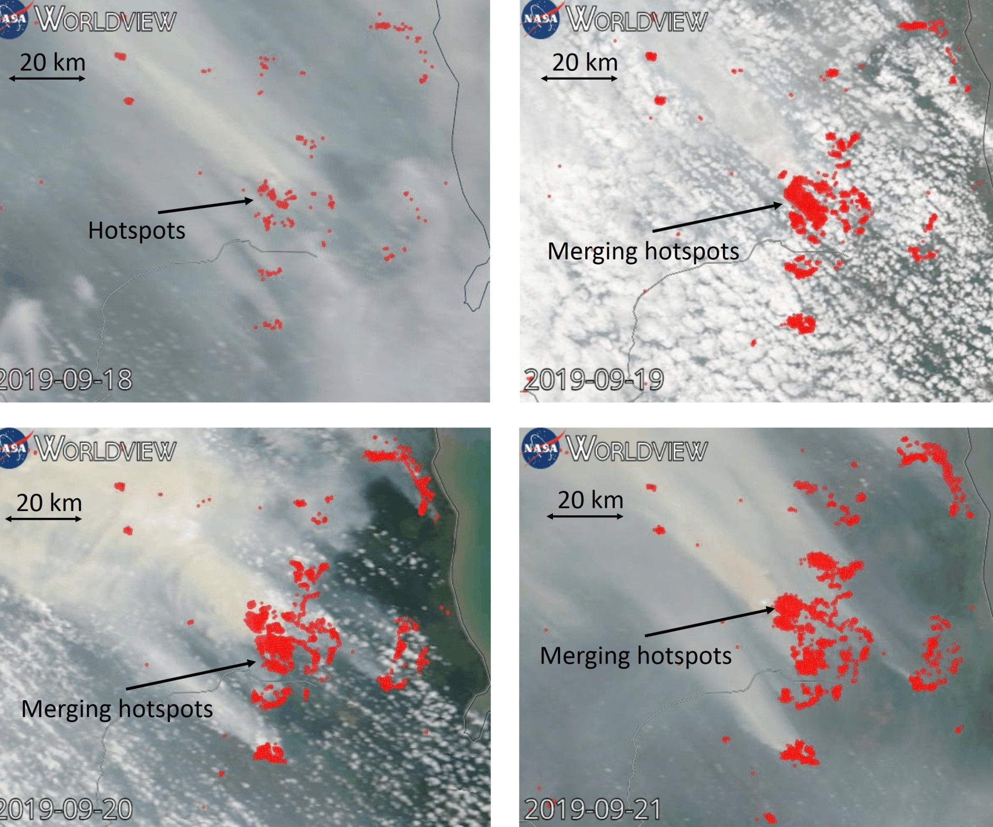 Satellite imageries of a peat wildfire in Sumatra