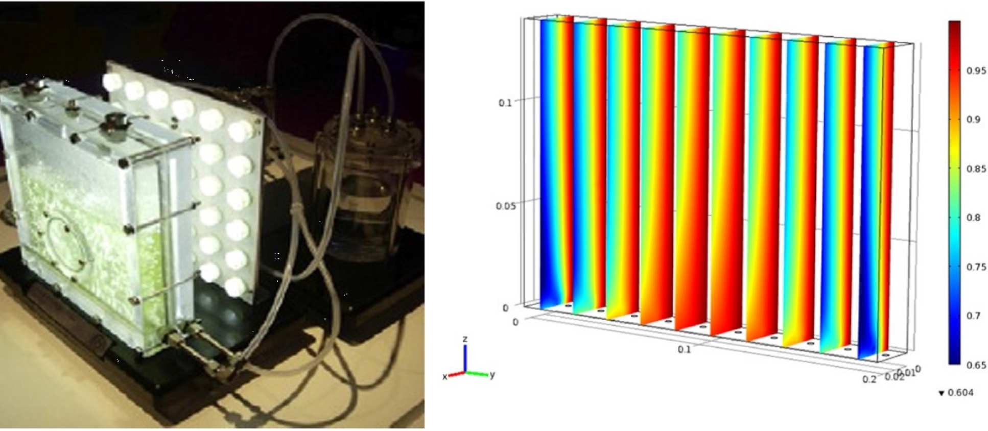 Flat plate photo-bioreactor; normalised local light intensity in the PBR obtained from CFD simulations (Zhang et al., Algal Research, 8, 99-107 (2015)).