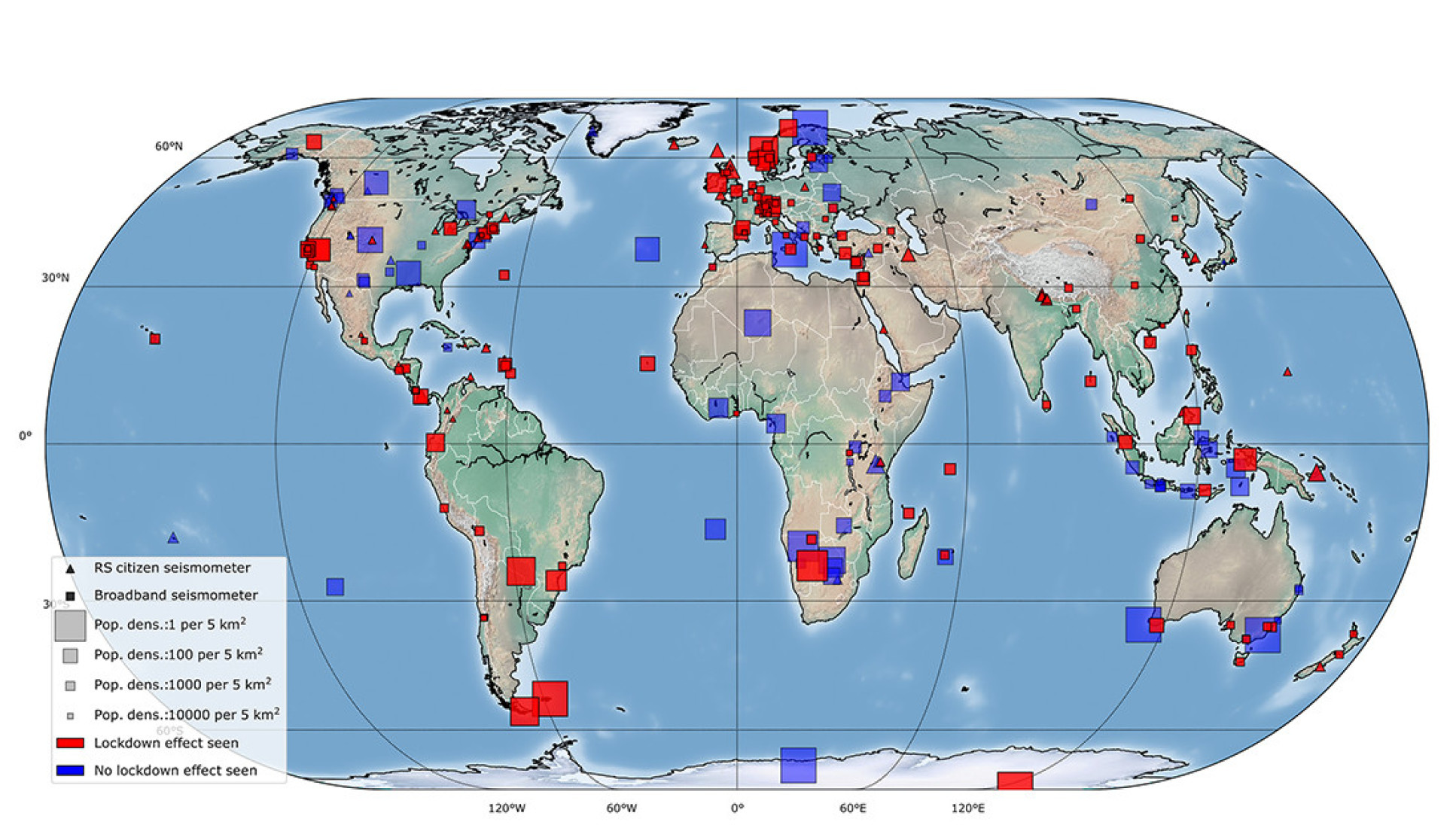 Worldwide map of the seismic stations that detected a drop in human-caused vibrations