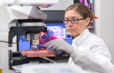 Researcher working in a lab