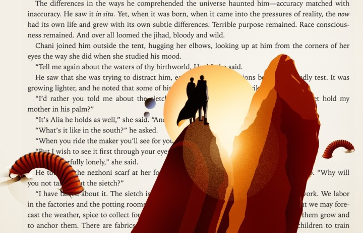 A page of the novel Dune, with people standing on a rock and sandworms down below