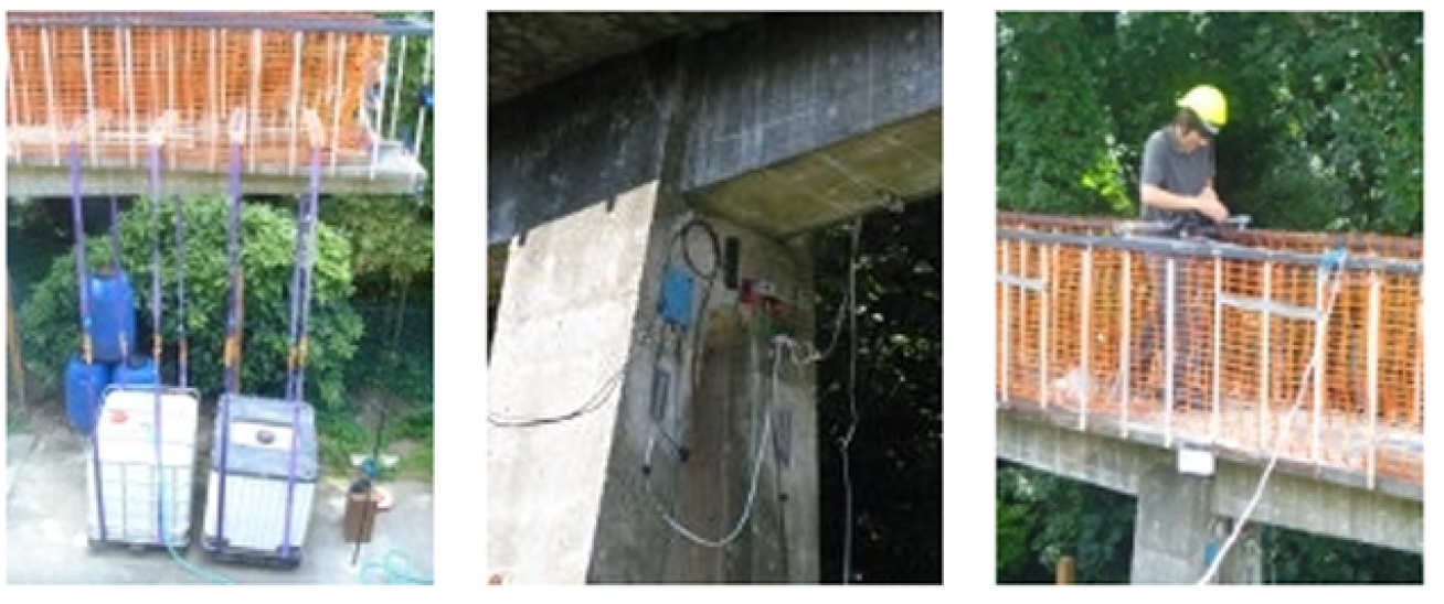 From left to right: footbridge in its current position following relocation from original site; loading of one of the cantilevers using suspended water tanks; monitoring structural response with a variety of sensors; deployment of digital image correlation (DIC) for monitoring applied displacements and strains.