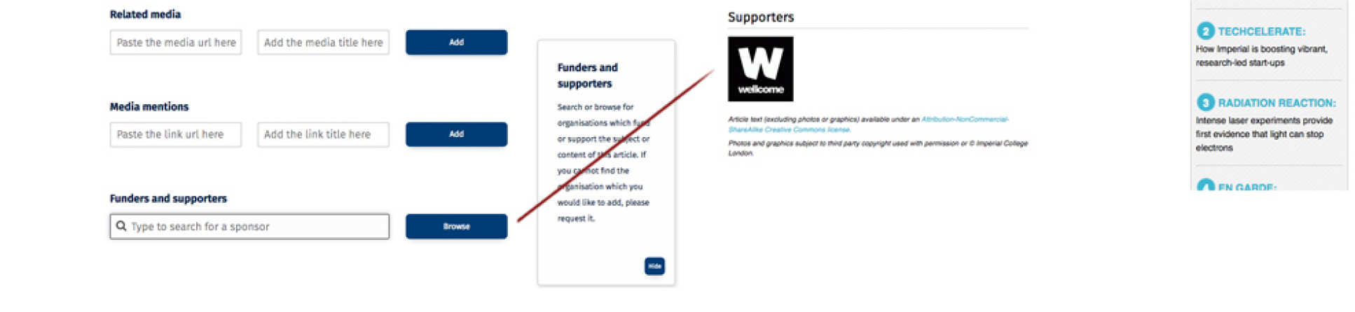 Funders and supporters screen