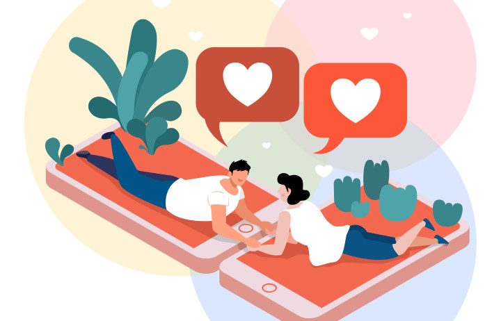 Illustration of couple messaging
