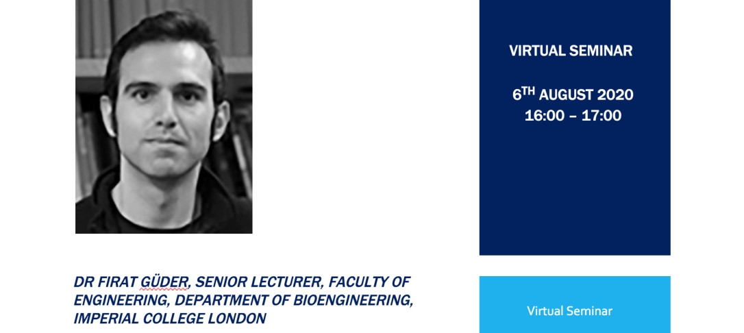 Seminar banner with a headshot of Dr Firat Guder and details of the date and time of the event