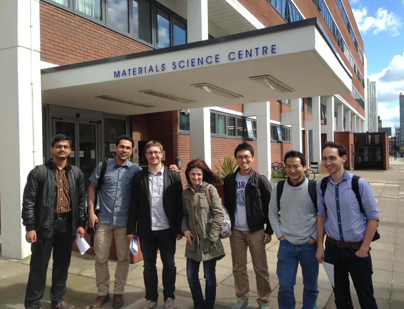 HexMat PDRAs at the Materials Science Centre, University of Manchester (left to right): Dr Rajesh Korla, Dr Hamid Abdolvand (Oxford), Dr Zoltan Szaraz, Dr Eleni Sarakinou (Manchester), Dr Terry Jun, Dr Zhen Zhang and Dr Thomas White (Imperial).