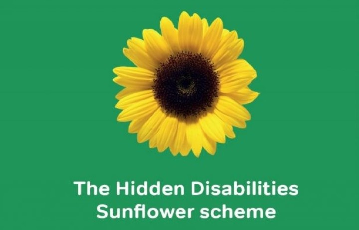 Image of a yellow sunflower on a green background with the words Hidden Disability Sunflower Campaign written in white below