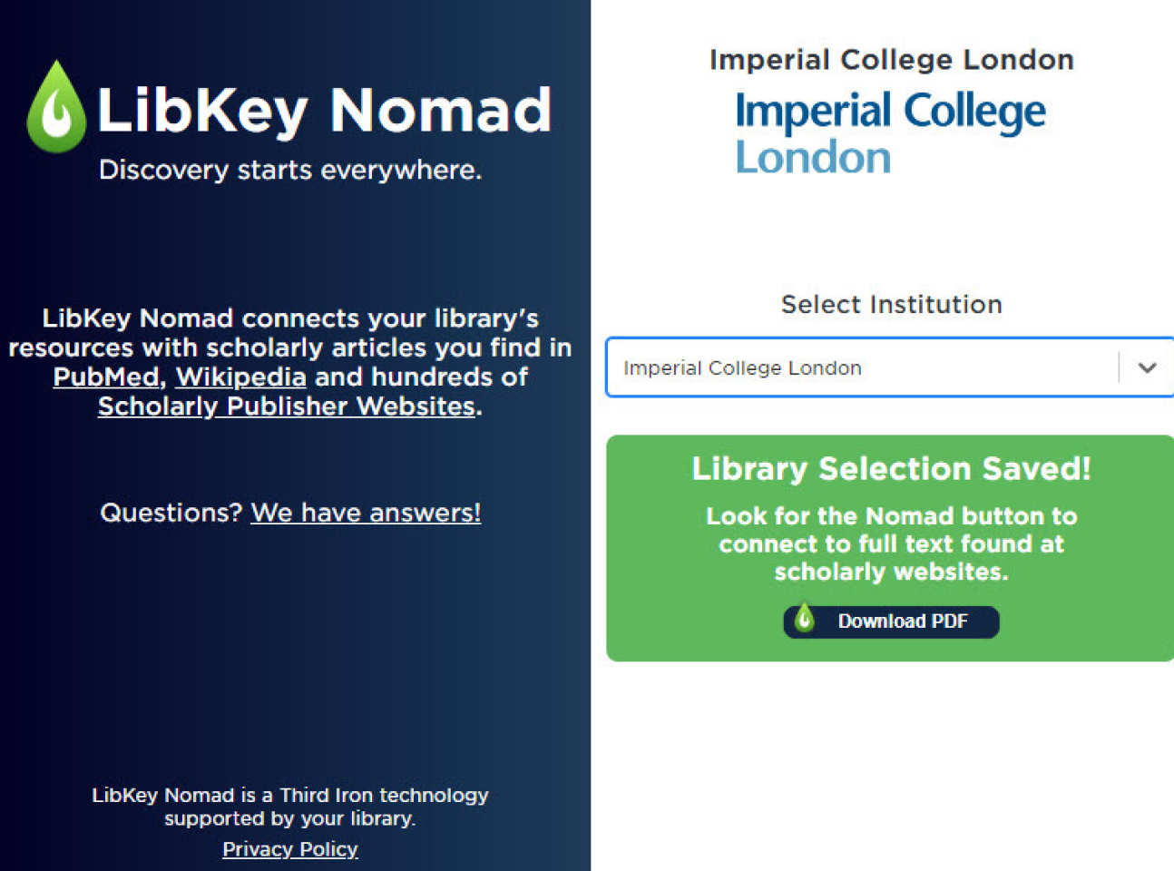 LibKey Nomad select institution screen image